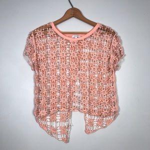Delia's crochet flower open back top